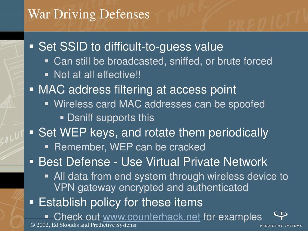 War Driving Defenses