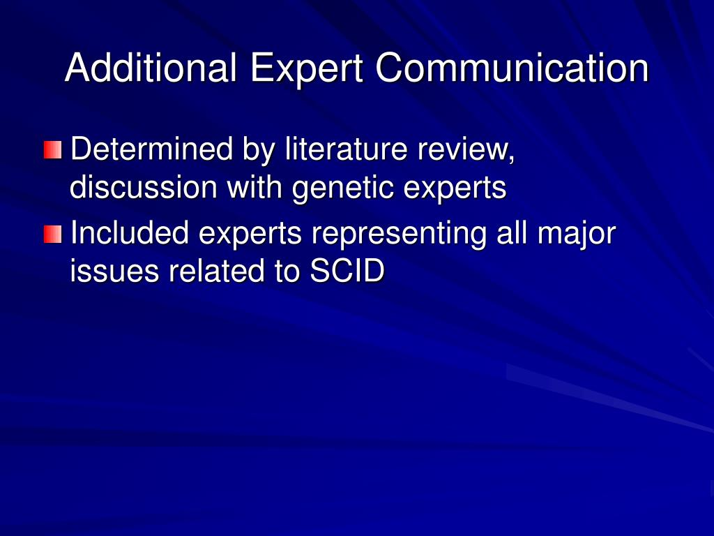 Additional Expert Communication