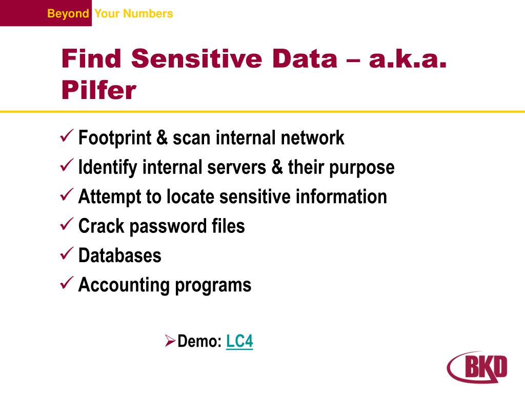 Find Sensitive Data – a.k.a. Pilfer