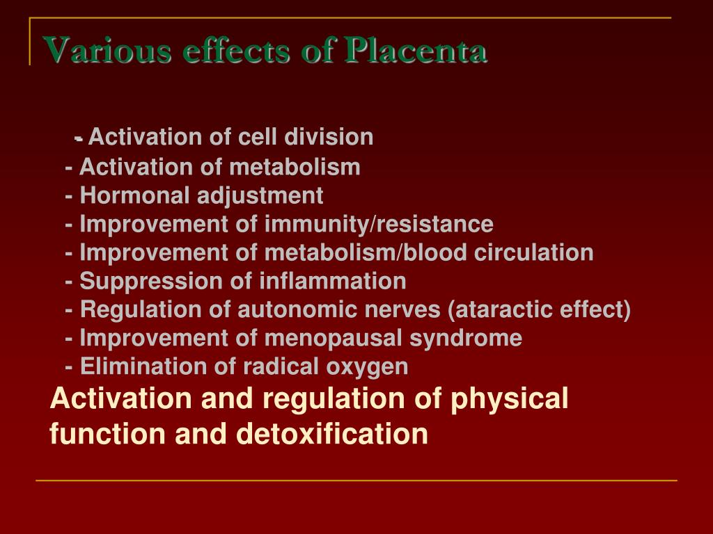Various effects of Placenta