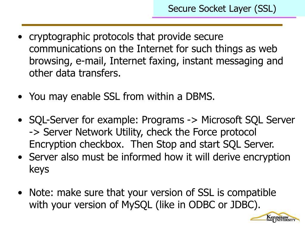Secure Socket Layer (SSL)