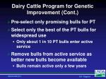dairy cattle program for genetic improvement cont