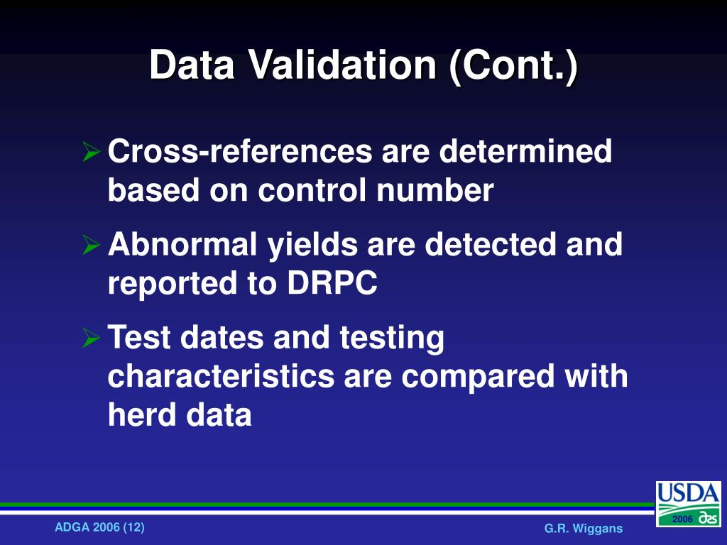Data Validation (Cont.)