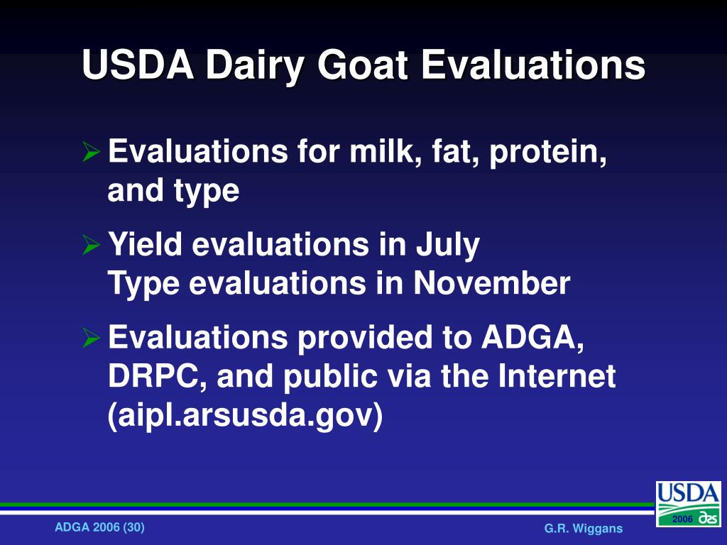 USDA Dairy Goat Evaluations