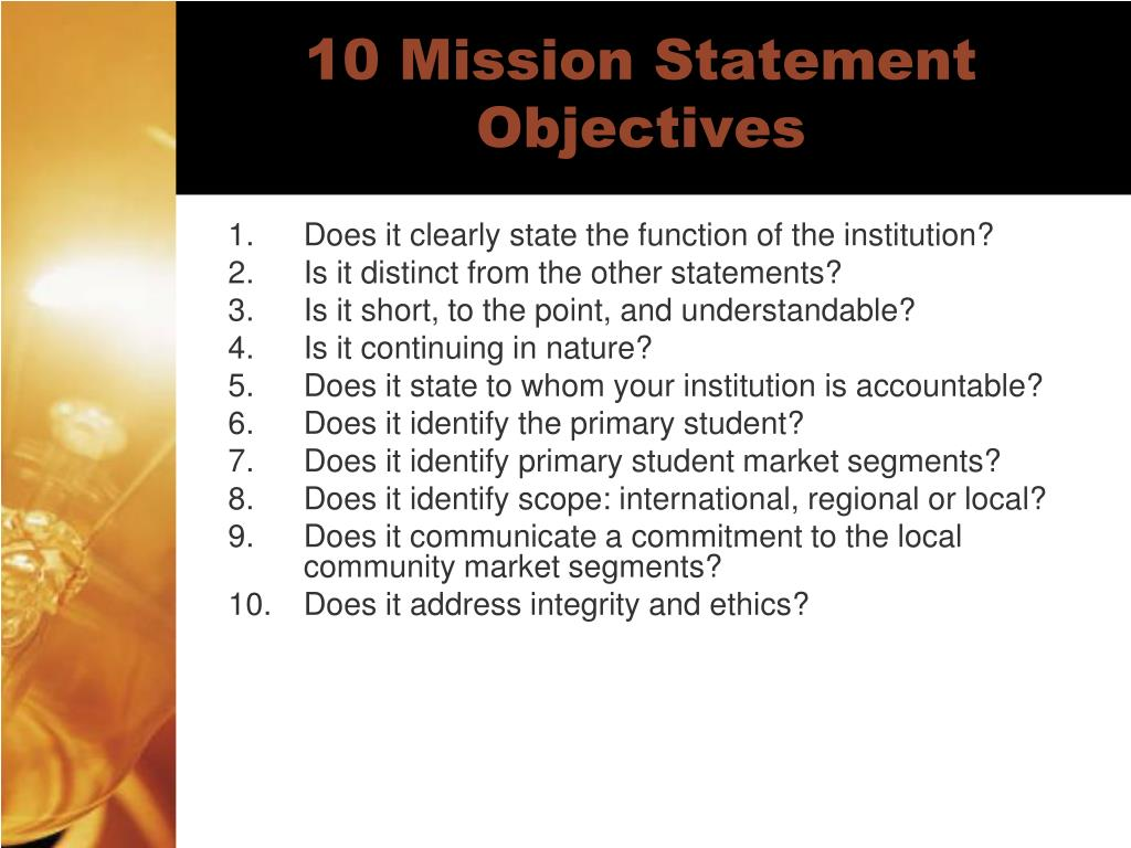 10 Mission Statement Objectives