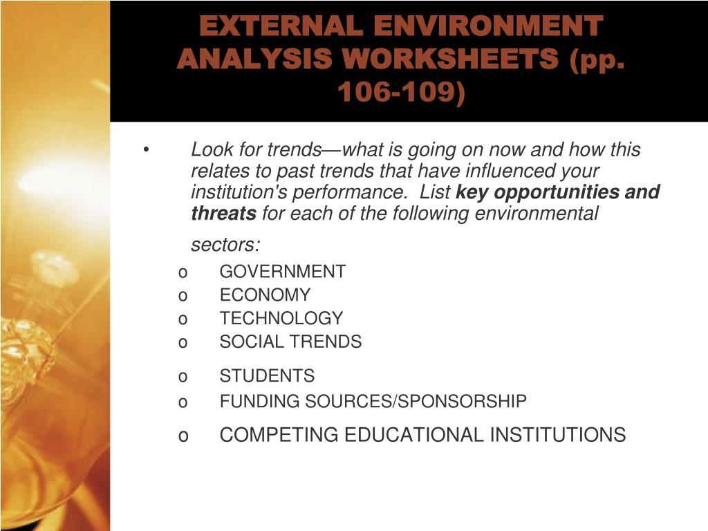 EXTERNAL ENVIRONMENT ANALYSIS WORKSHEETS