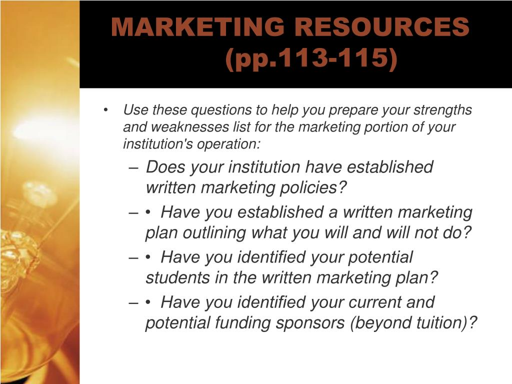 MARKETING RESOURCES (pp.113-115)