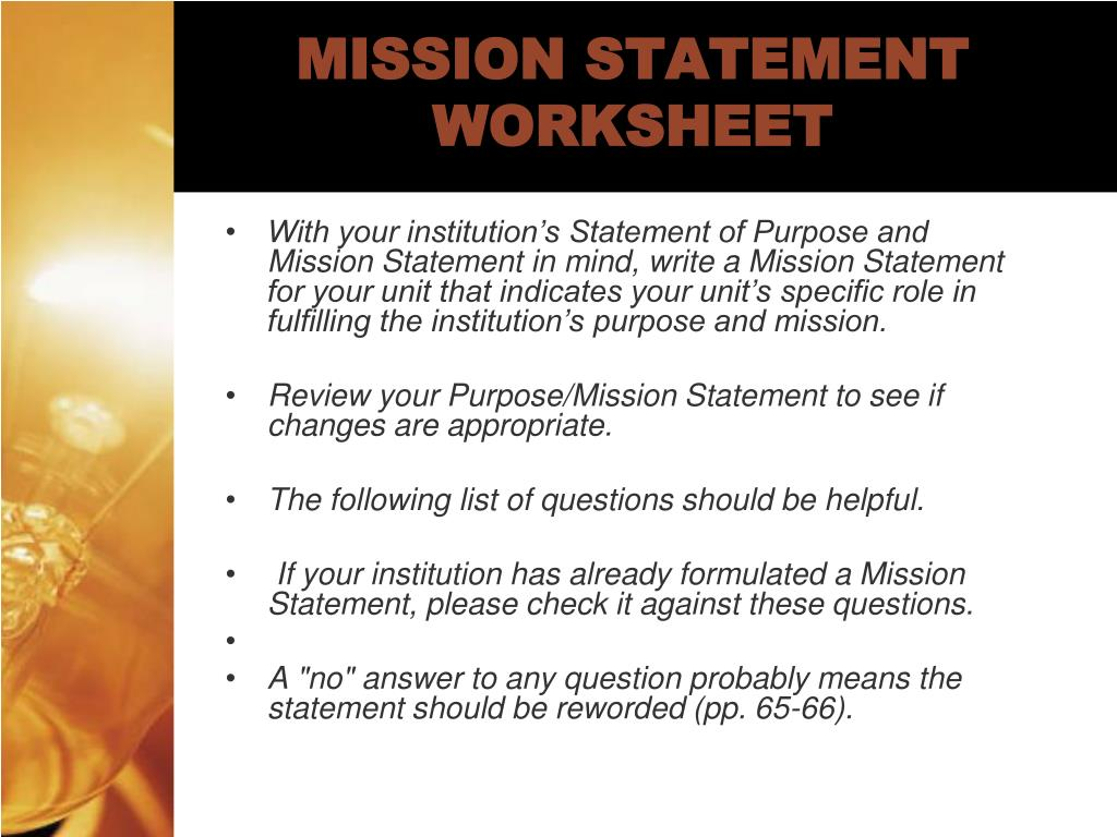 MISSION STATEMENT WORKSHEET