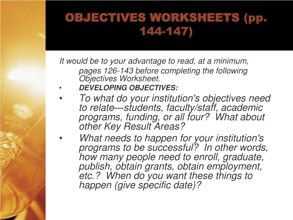 OBJECTIVES WORKSHEETS