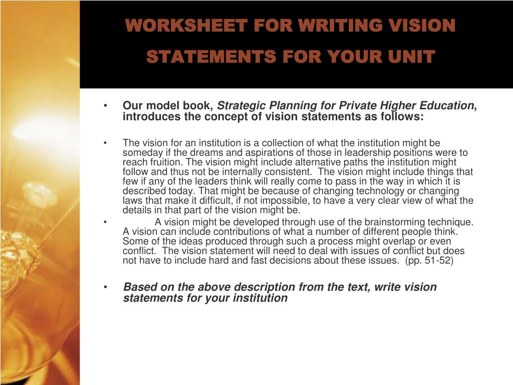 WORKSHEET FOR WRITING VISION STATEMENTS FOR YOUR UNIT