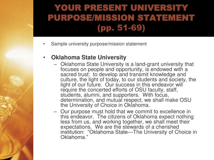 Your present university purpose mission statement pp 51 69
