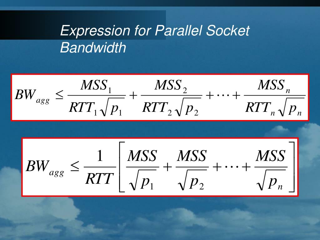 Expression for Parallel Socket Bandwidth