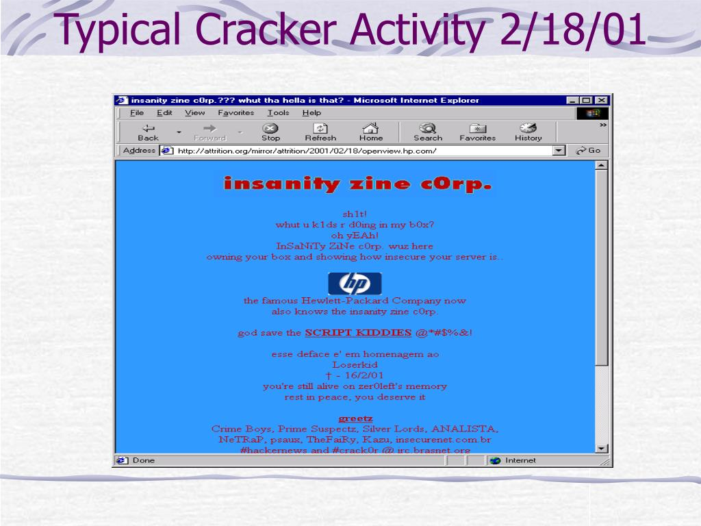 Typical Cracker Activity 2/18/01