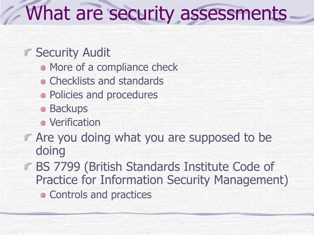 What are security assessments