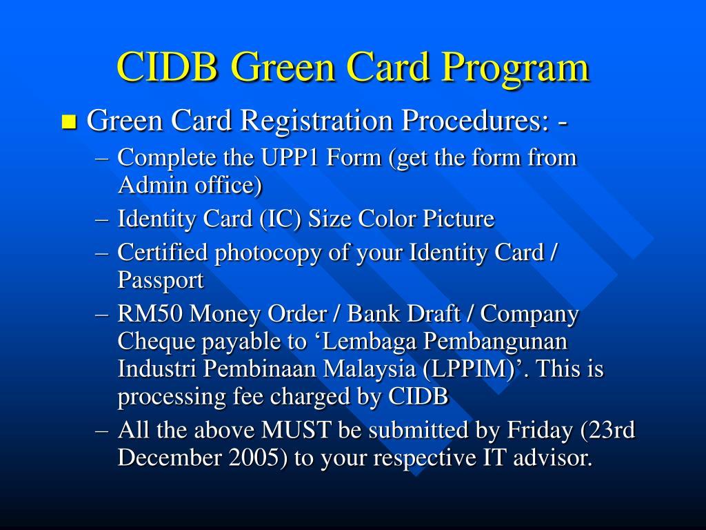 CIDB Green Card Program