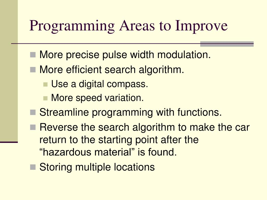 Programming Areas to Improve