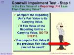goodwill impairment test step 1 is the fair value of a reporting unit less than carrying value