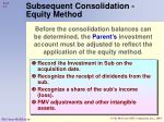 subsequent consolidation equity method