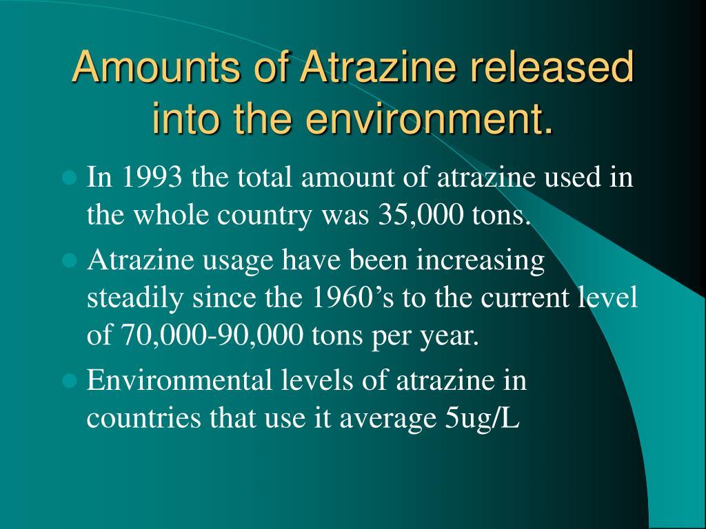 Amounts of Atrazine released into the environment.