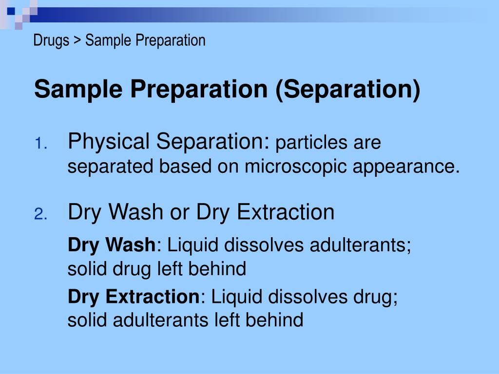 Drugs > Sample Preparation