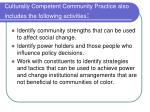 culturally competent community practice also includes the following activities