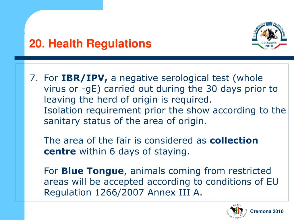 20. Health Regulations