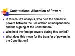 constitutional allocation of powers