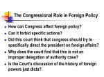 the congressional role in foreign policy