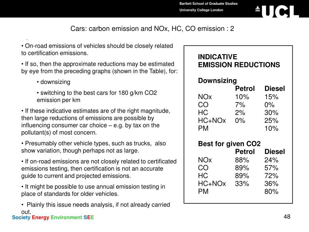 Cars: carbon emission and NOx, HC, CO emission : 2