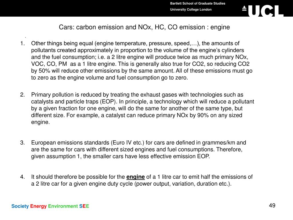 Cars: carbon emission and NOx, HC, CO emission : engine