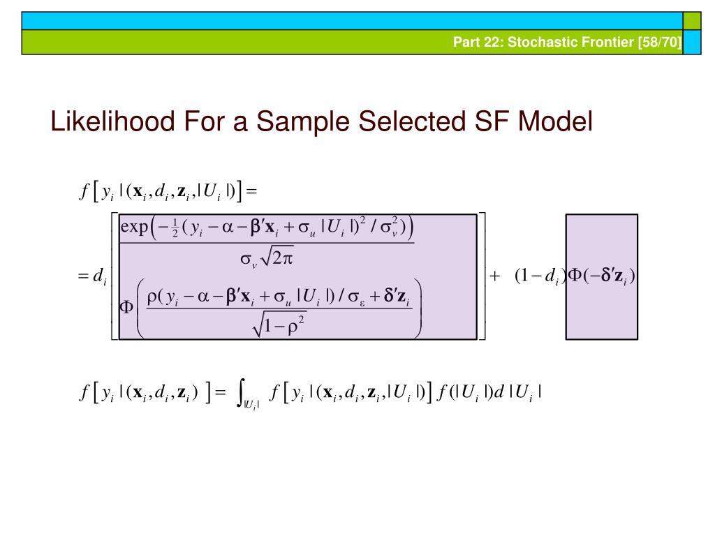 Likelihood For a Sample Selected SF Model