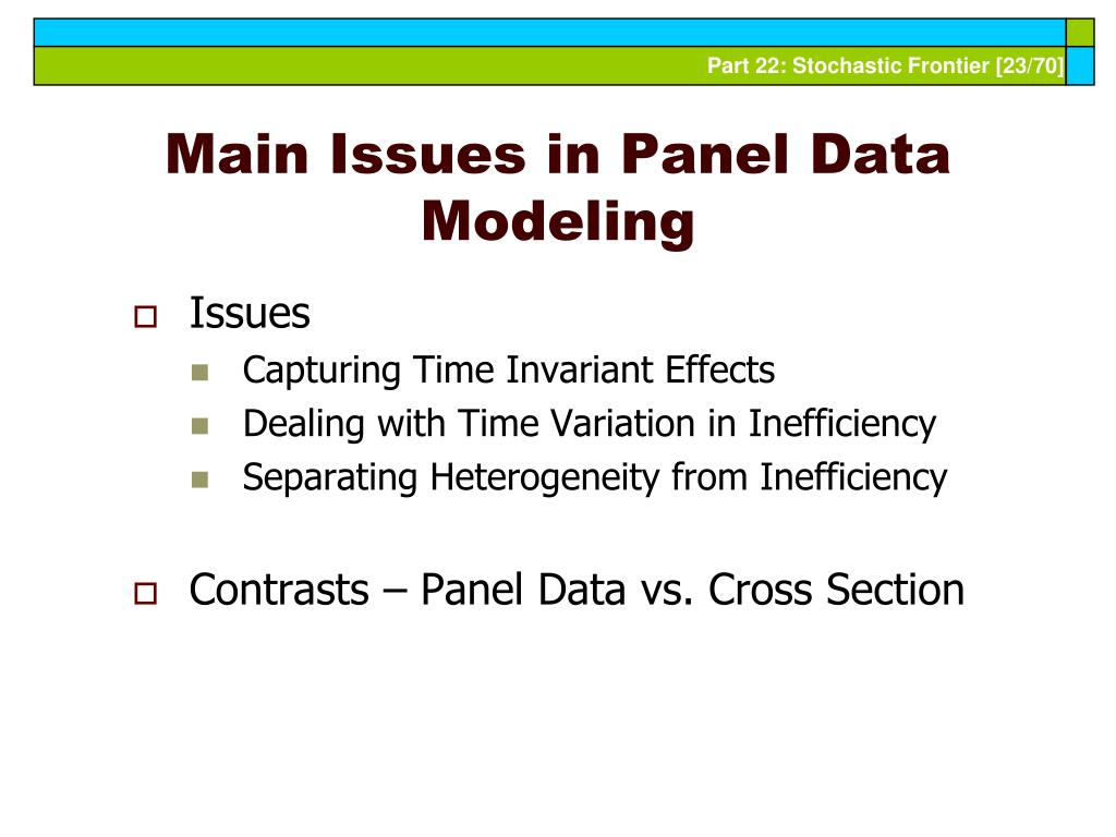 Main Issues in Panel Data Modeling
