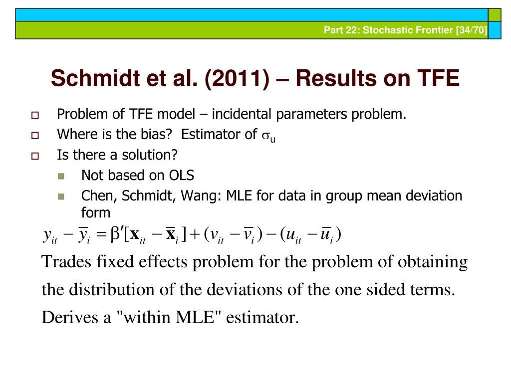 Schmidt et al. (2011) – Results on TFE