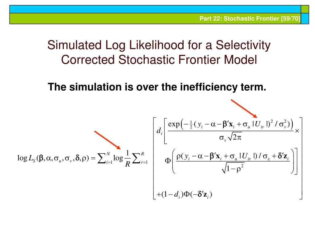 Simulated Log Likelihood for a Selectivity Corrected Stochastic Frontier Model