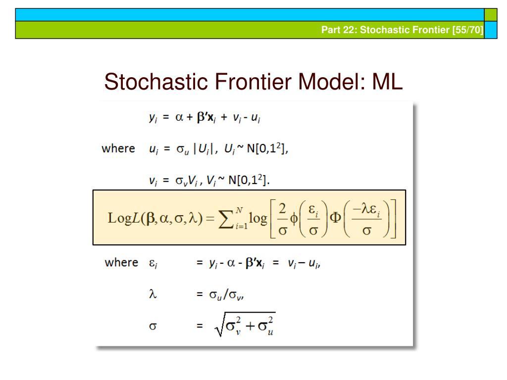 Stochastic Frontier Model: ML