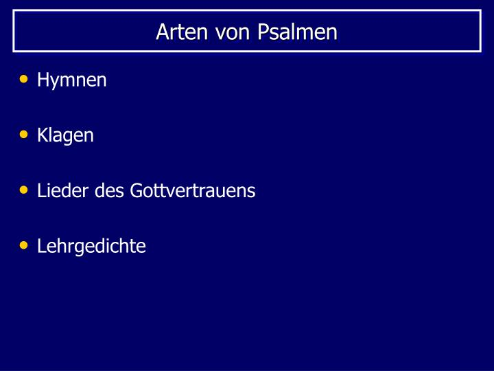 Arten von Psalmen