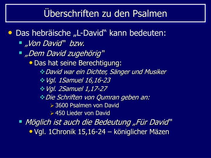 Überschriften zu den Psalmen