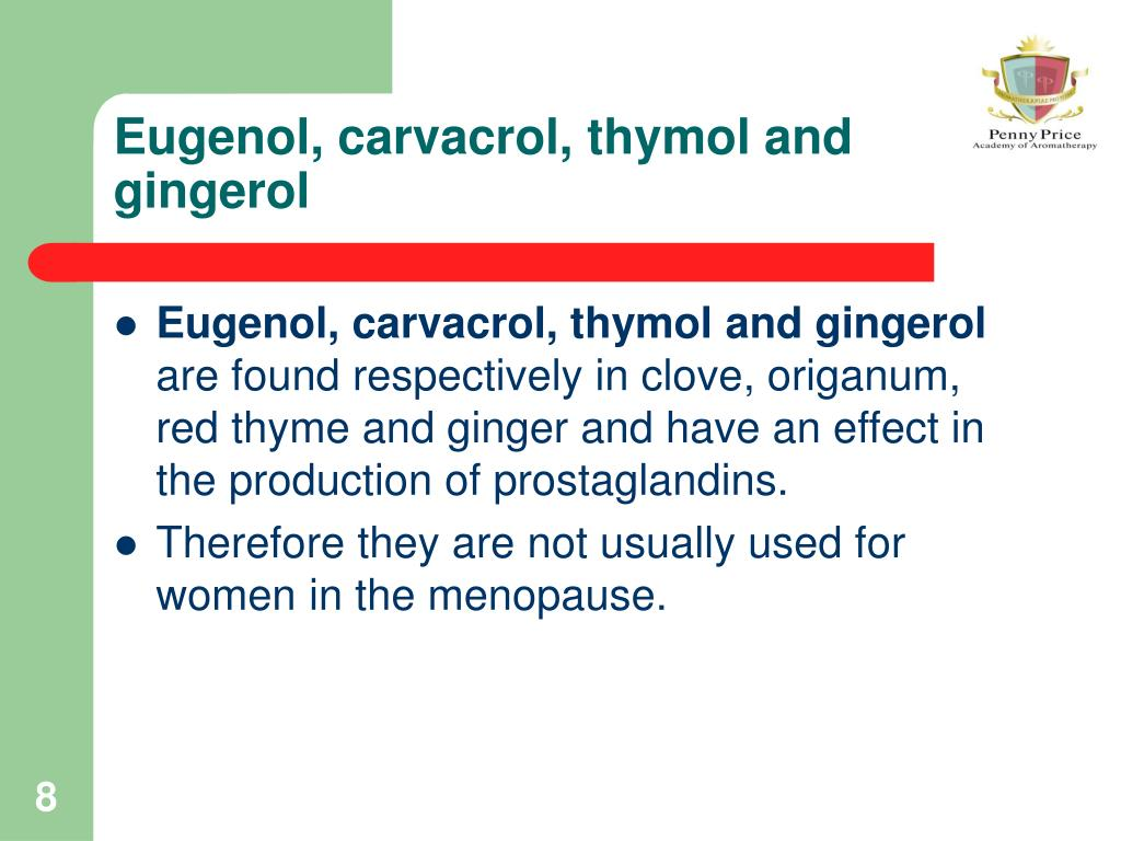 Eugenol, carvacrol, thymol and gingerol