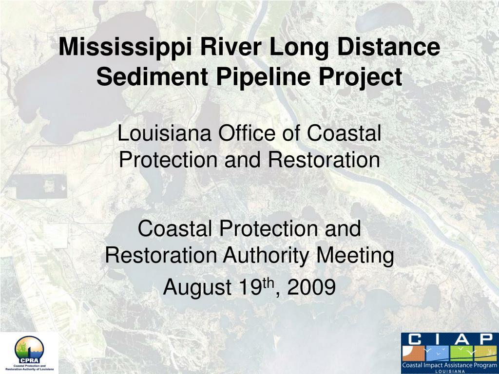 mississippi river long distance sediment pipeline project