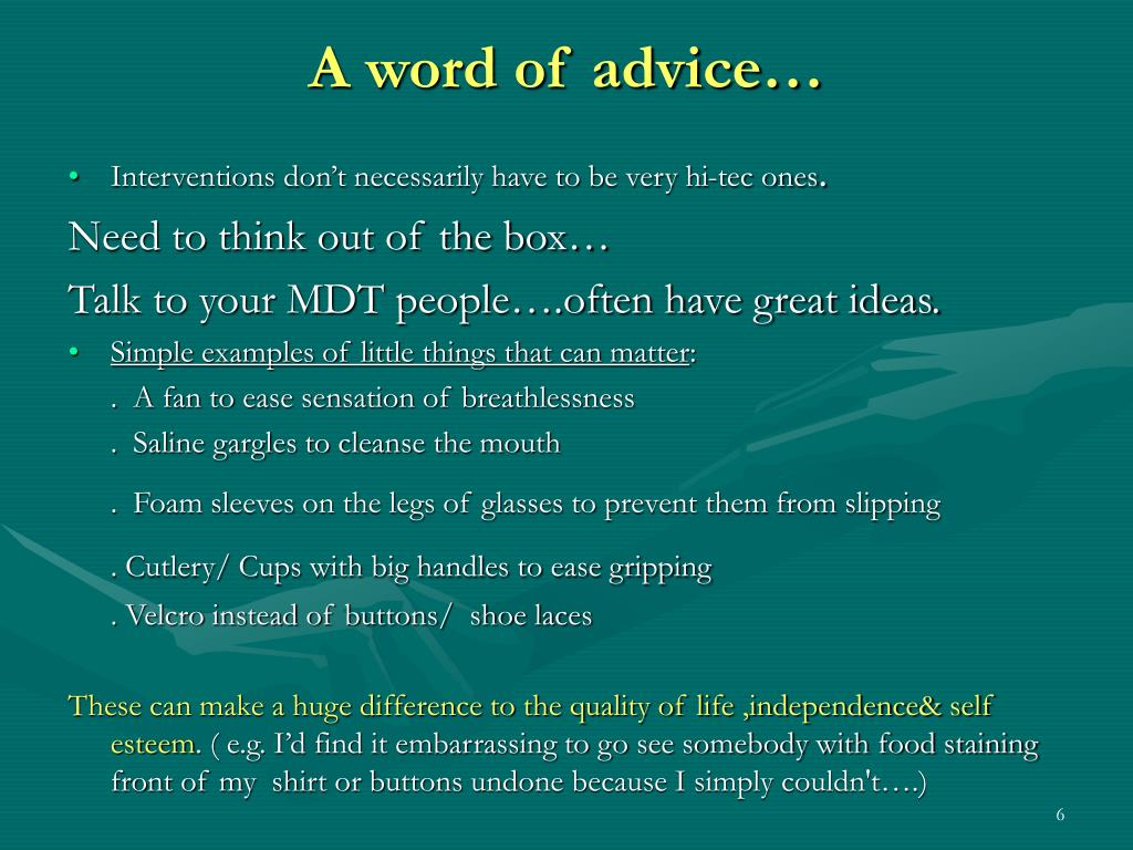 A word of advice…