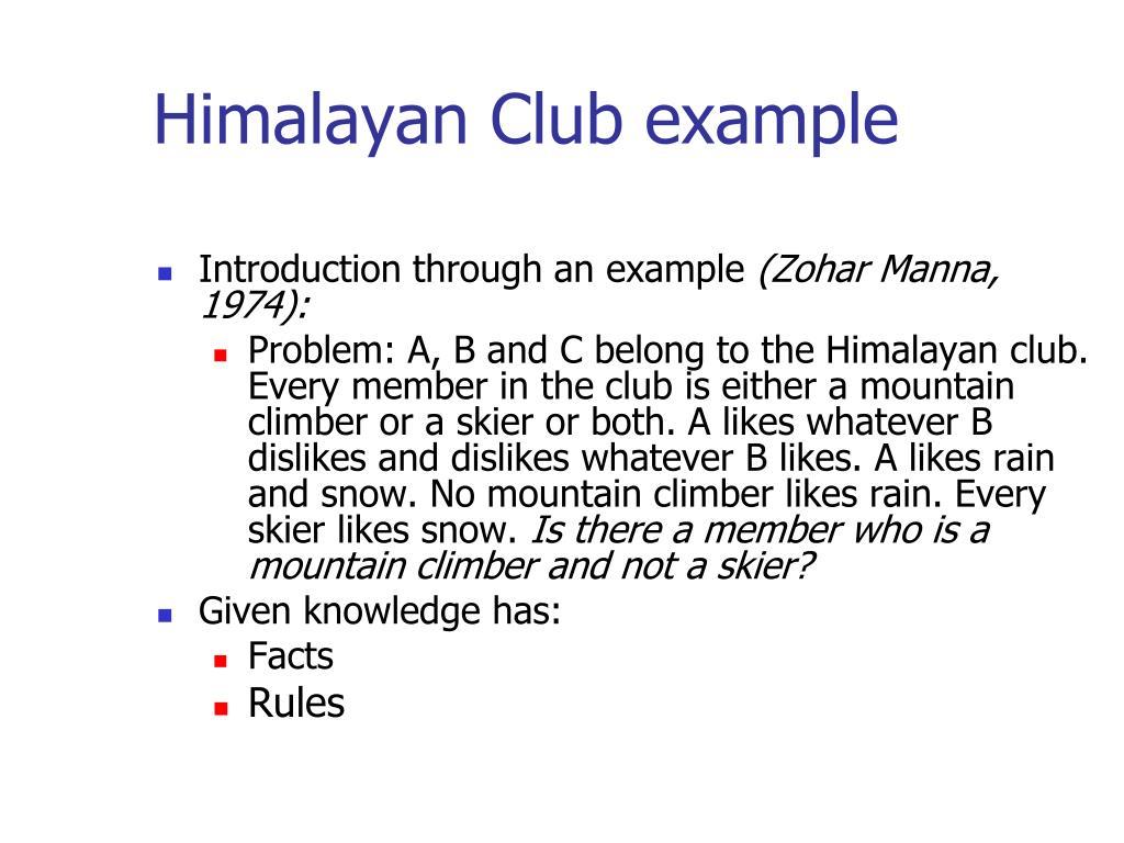 Himalayan Club example