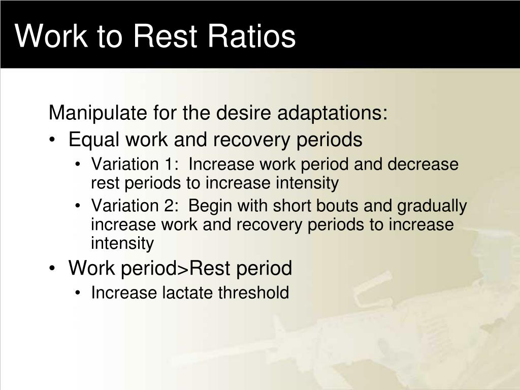 Work to Rest Ratios