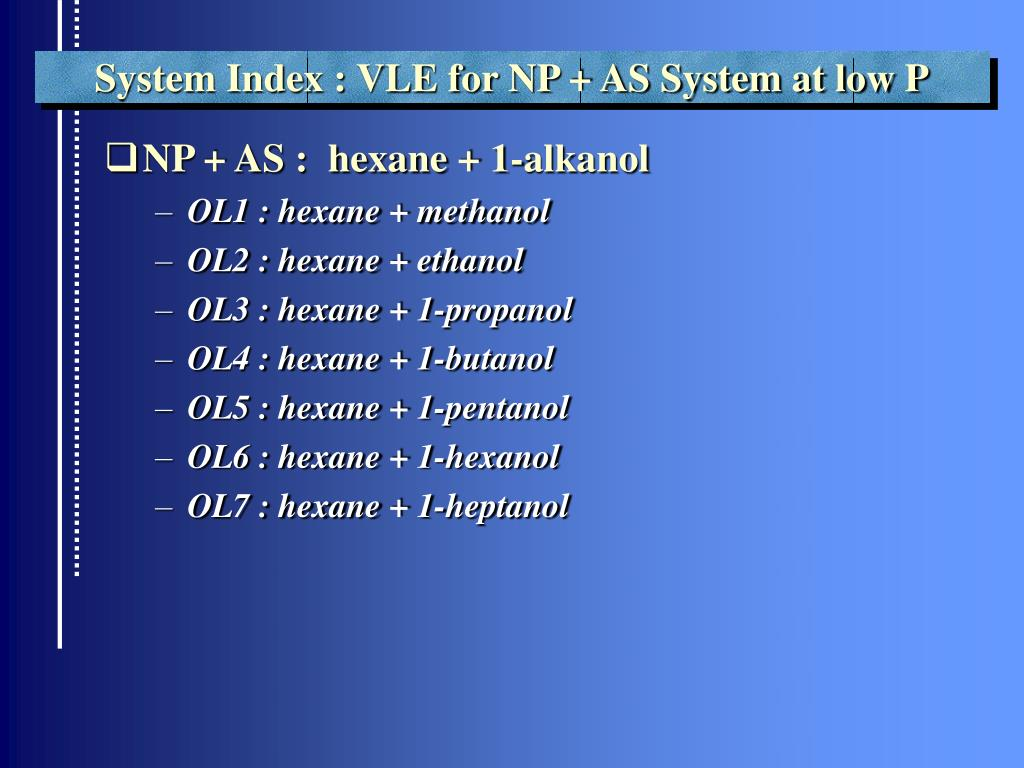 System Index : VLE for NP + AS System at low P