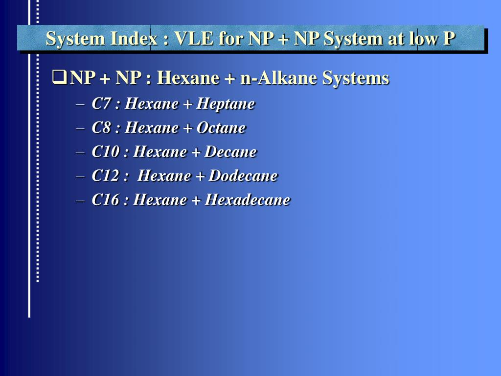 System Index : VLE for NP + NP System at low P