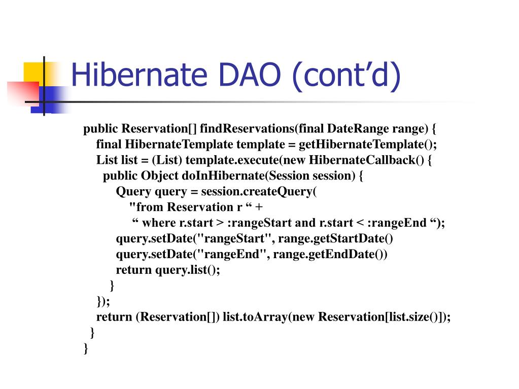 Hibernate DAO (cont'd)