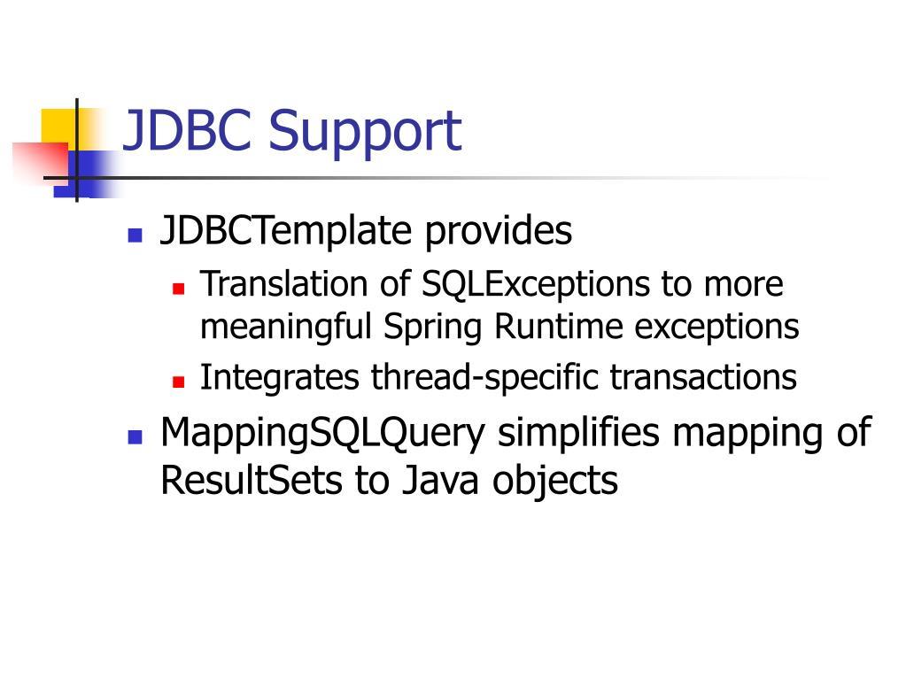 JDBC Support