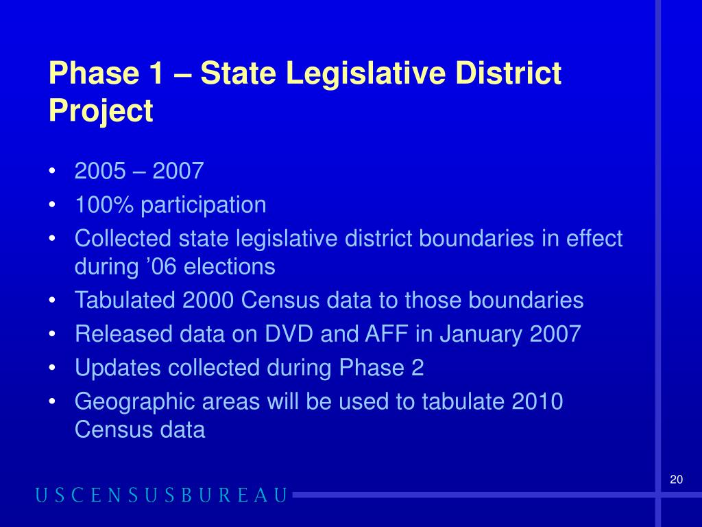 Phase 1 – State Legislative District Project
