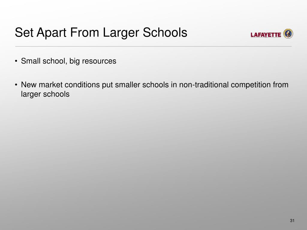 Set Apart From Larger Schools