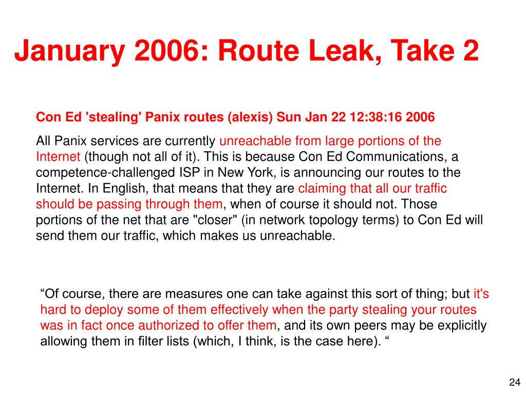 January 2006: Route Leak, Take 2