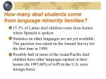 how many deaf students come from language minority families